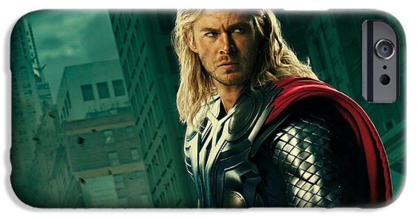 Business Digital Art iPhone Cases - Thor the Avenger iPhone Case by Movie Poster Prints