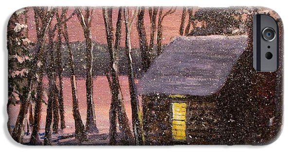 Snowy Evening iPhone Cases - Thoreaus Cabin iPhone Case by Jack Skinner