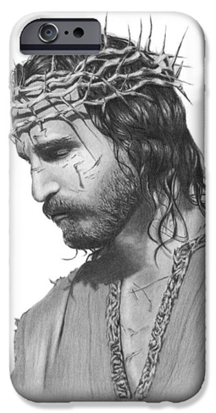 Jesus Drawings iPhone Cases - Thorns iPhone Case by Linda Bissett