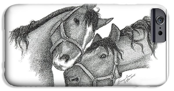 Kentucky Derby Drawings iPhone Cases - Thoroughbred Horses iPhone Case by Tanya Crum