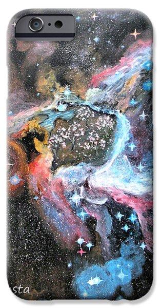 Nebula Paintings iPhone Cases - Thors Helmet Nebula iPhone Case by Augusta Stylianou