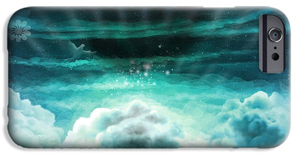 Awak Mixed Media iPhone Cases - Those Who Have Departed - Celestial Version iPhone Case by Bedros Awak