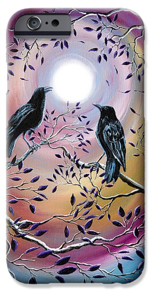 Crows iPhone Cases - Thought and Memory iPhone Case by Laura Iverson