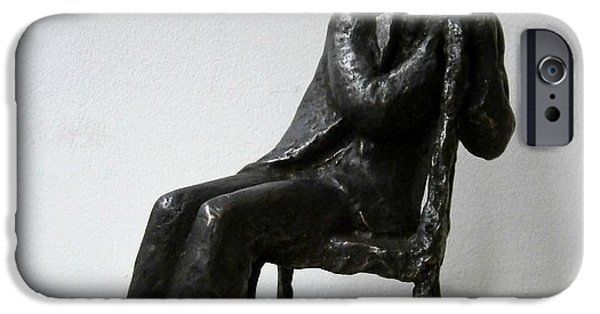Chair Sculptures iPhone Cases - Thoughtful man iPhone Case by Nikola Litchkov