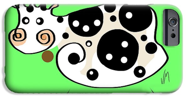 Thought iPhone Cases - Thoughts and colors series cow iPhone Case by Veronica Minozzi