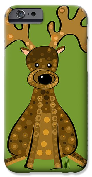 Thoughts Digital Art iPhone Cases - Thoughts and colors series reindeer iPhone Case by Veronica Minozzi