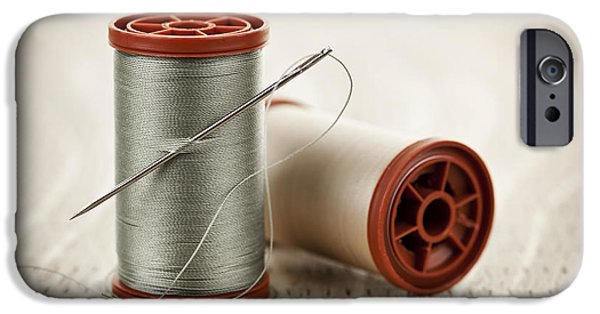 Thread iPhone Cases - Thread and needle iPhone Case by Elena Elisseeva