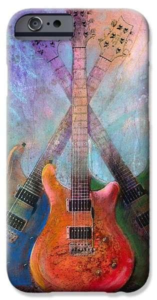 Guitar Paintings iPhone Cases - Three Amigos iPhone Case by Andrew King