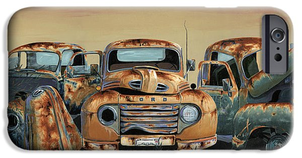 Old Truck iPhone Cases - Three Amigos iPhone Case by John Wyckoff