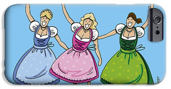 Woman iPhone Cases - Three Beautiful Oktoberfest Dirndl Women iPhone Case by Frank Ramspott