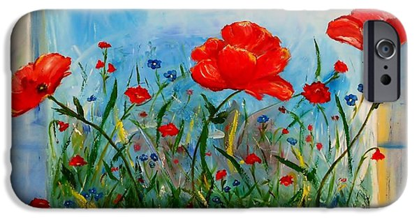 Free Form Paintings iPhone Cases - Three Big Poppies iPhone Case by Jamie Frier
