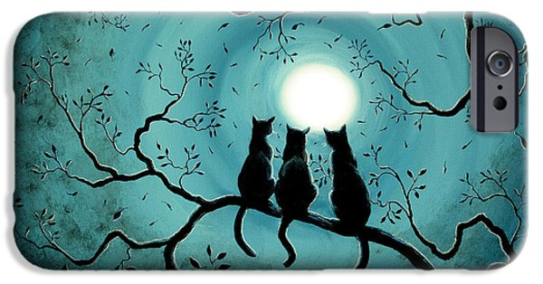 Three iPhone Cases - Three Black Cats Under a Full Moon iPhone Case by Laura Iverson