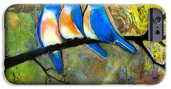 Little iPhone Cases - Three Little Birds - Bluebirds iPhone Case by Blenda Studio
