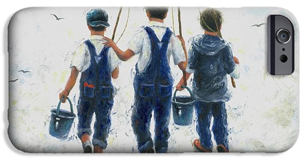Young Paintings iPhone Cases - Three Boys Going Fishing iPhone Case by Vickie Wade
