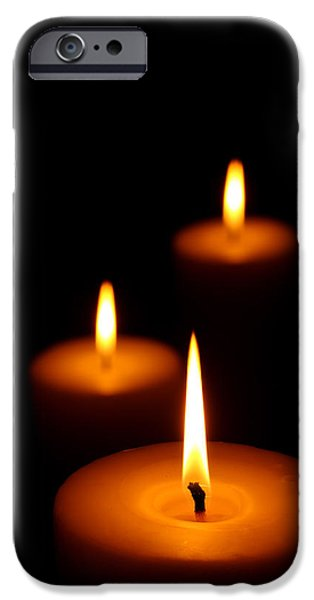 Three Burning candles iPhone Case by Johan Swanepoel