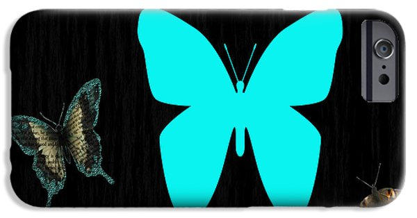 Multimedia iPhone Cases - Three Butterflies iPhone Case by Tina M Wenger
