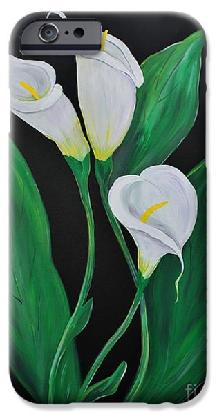 Botanic Illustration iPhone Cases - Three Calla Lilies on Black iPhone Case by Janice Rae Pariza