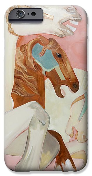 Carousel Horse Paintings iPhone Cases - Three Carousel Horses iPhone Case by Lynette Hinman