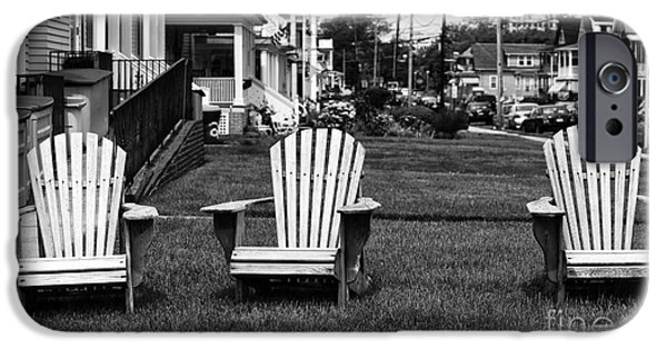 Monotone iPhone Cases - Three Chairs at Ocean Grove iPhone Case by John Rizzuto
