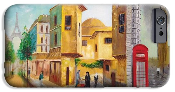 Baghdad Paintings iPhone Cases - Three Cities iPhone Case by Rami Besancon
