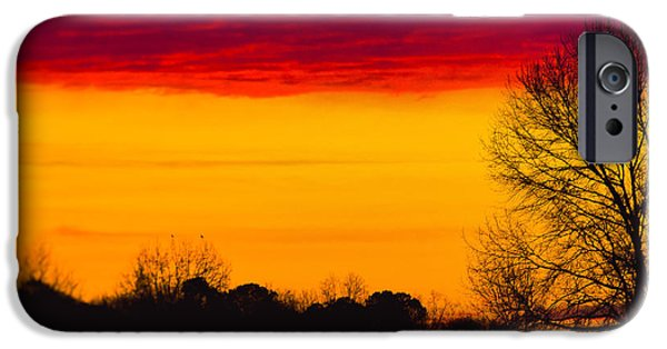 No People Pyrography iPhone Cases - Three colored sunset iPhone Case by Vincent  Dale
