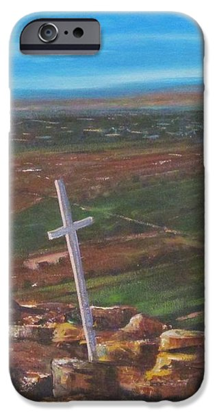 Three Crosses of Tome Hill iPhone Case by Judy Lybrand