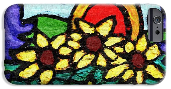 Flight Reliefs iPhone Cases - Three Crows and Sunflowers iPhone Case by Genevieve Esson