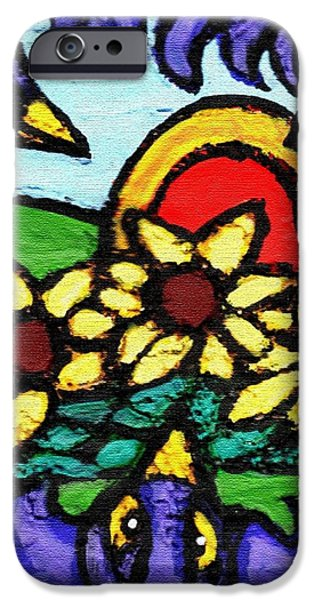Three Crows and Sunflowers iPhone Case by Genevieve Esson
