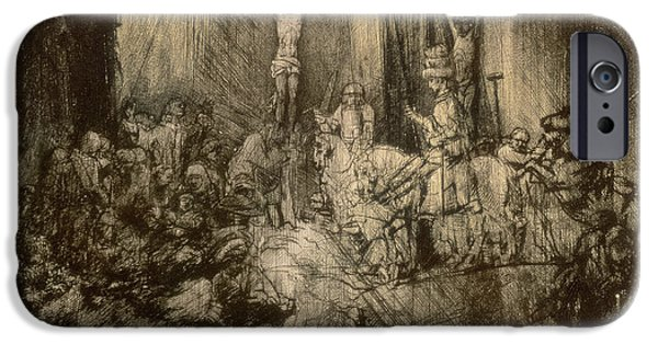 Son Of God Drawings iPhone Cases - Three Crucifixes iPhone Case by Rembrandt Harmenszoon van Rijn