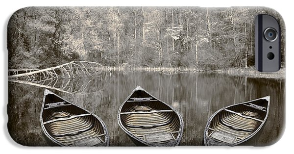 Canoe iPhone Cases - Three iPhone Case by Debra and Dave Vanderlaan