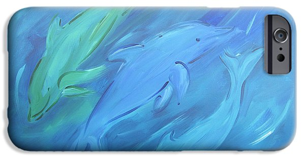 Sally Huss iPhone Cases - Three Dolphins iPhone Case by Sally Huss