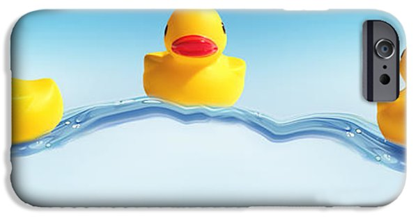 Duckling Photography iPhone Cases - Three Ducks On Water iPhone Case by Panoramic Images