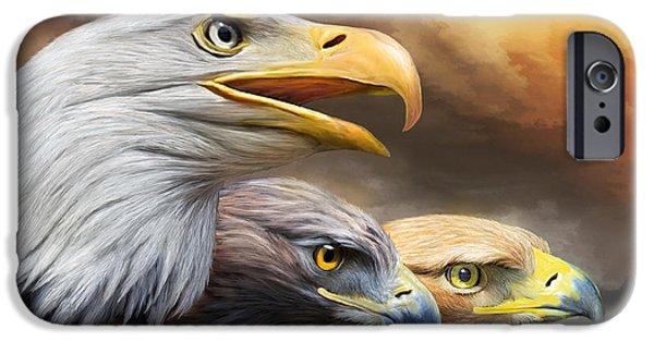 Bird Of Prey Art iPhone Cases - Three Eagles iPhone Case by Carol Cavalaris