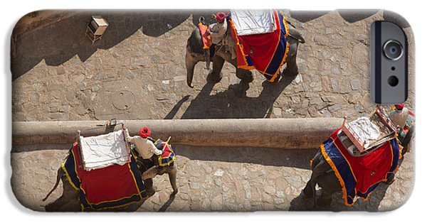 Amber iPhone Cases - Three Elephants at Amber Fort iPhone Case by Inge Johnsson