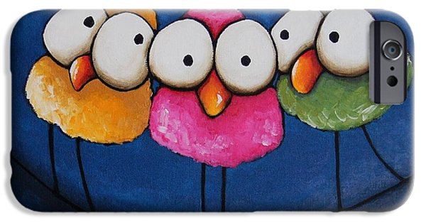 Whimsical Birds iPhone Cases - Three fat ladies iPhone Case by Lucia Stewart