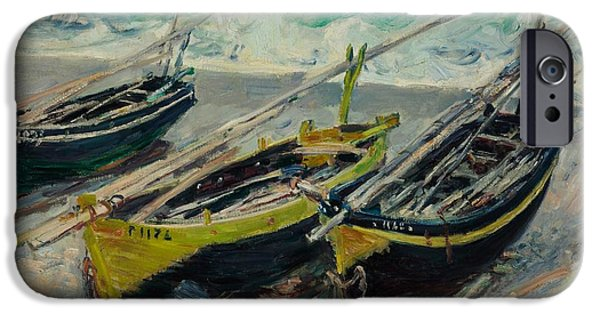 Business Paintings iPhone Cases - Three Fishing Boats Monet 1886 iPhone Case by Movie Poster Prints