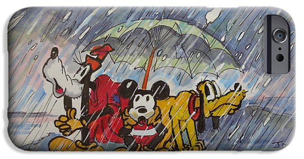 Snowy Day Drawings iPhone Cases - Three Friends iPhone Case by Joseph Hawkins