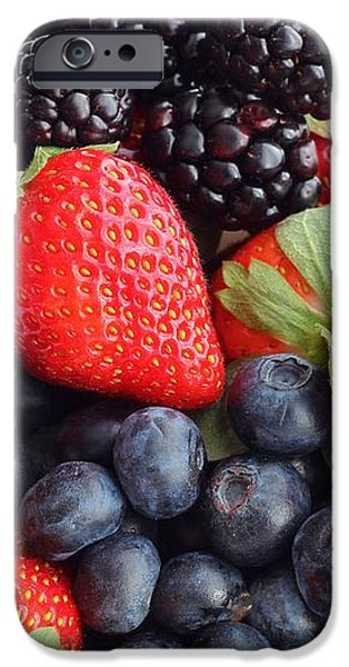 Three Fruit Closeup - Strawberries - Blueberries - Blackberries iPhone Case by Barbara Griffin
