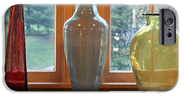 Shape Glass iPhone Cases - Three Glass Vases in a Window iPhone Case by Karen Adams