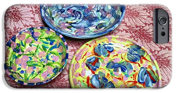 Florals Ceramics iPhone Cases - Three Glazed Plates iPhone Case by Martha Nelson