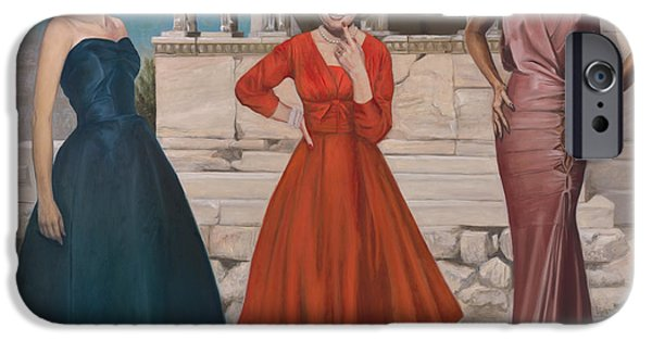 Business Paintings iPhone Cases - Three Graces iPhone Case by Terry Guyer