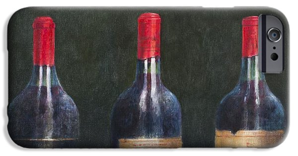 Wine Bottles iPhone Cases - Three Great Clarets, 2014 Oil On Canvas iPhone Case by Lincoln Seligman