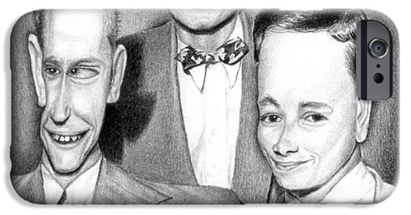 1950s Portraits Drawings iPhone Cases - Three Guys iPhone Case by Melinda Fawver