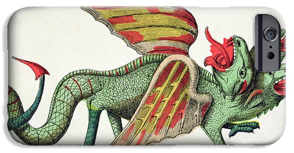 Spit iPhone Cases - Three Headed Dragon Spitting Fire iPhone Case by German School