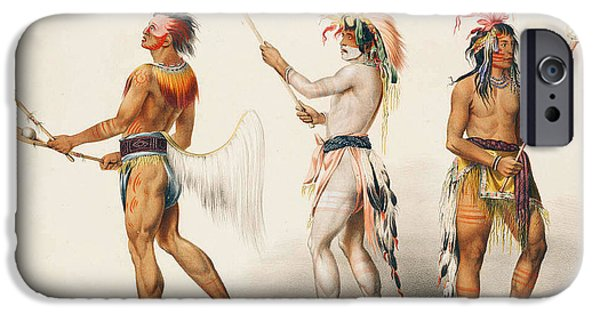 Three iPhone Cases - Three Indians Playing Lacrosse iPhone Case by Unknown