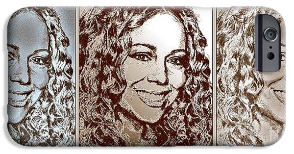 Mariah Carey iPhone Cases - Three Interpretations of Mariah Carey iPhone Case by J McCombie