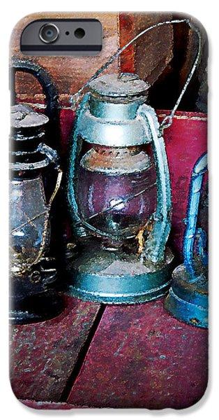 Hurricane Lamps iPhone Cases - Three Kerosene Lamps iPhone Case by Susan Savad