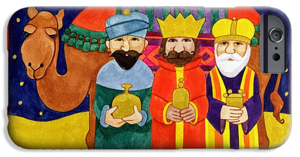 Star Of Bethlehem iPhone Cases - Three Kings and Camel iPhone Case by Linda Benton