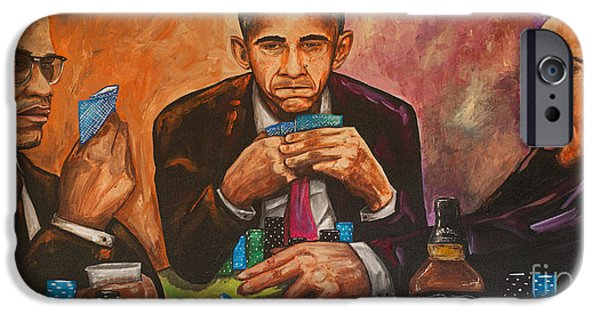 Obama iPhone Cases - Three Kings Full House iPhone Case by Chuck Styles