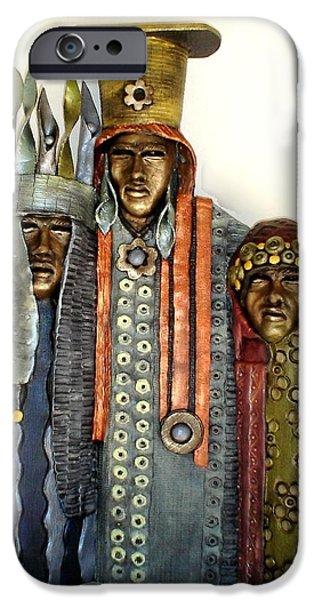 People Sculptures iPhone Cases - Three Kings iPhone Case by Wayne Niemi